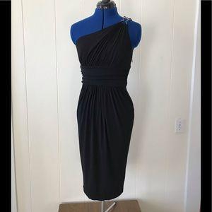 Cold shoulder black cocktail dress